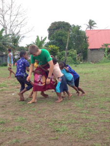 Playing rugby in the village