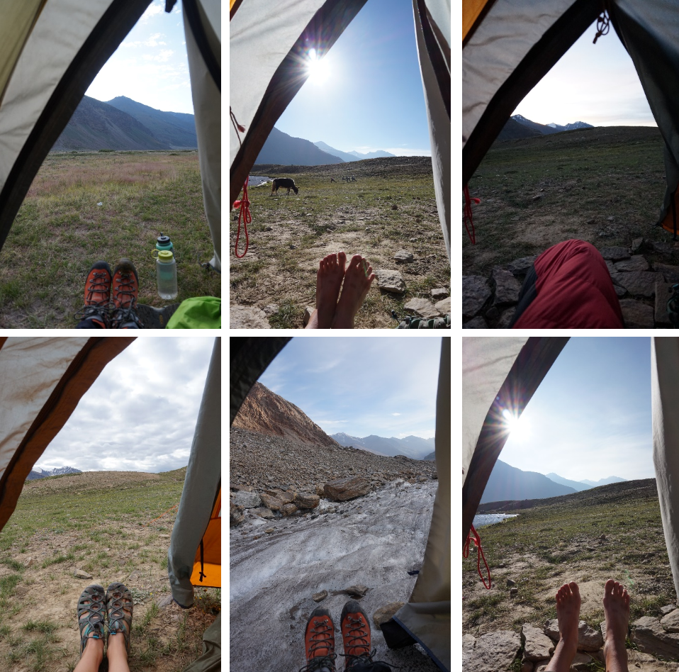 Every morning I took a photo of the first thing I saw when I opened the tent. This created an effective timeline of photos.