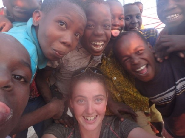 In Old Shinyanga surrounded by kids who were very over excited to see their own reflection