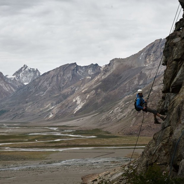 Abseiling above the Rangdum Valley (one of my favourite pictures)