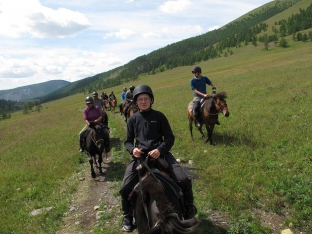Enjoying horse trekking