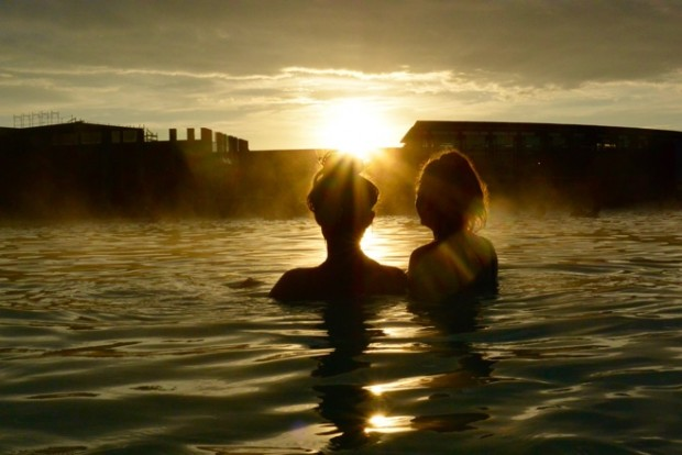 Sun setting over the blue lagoon