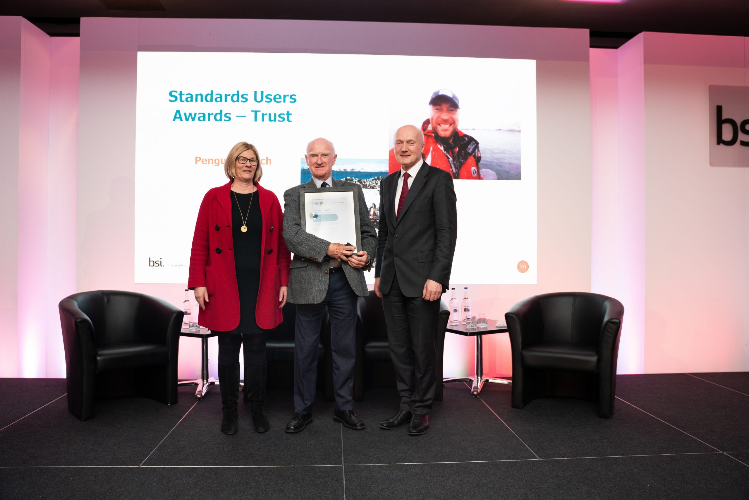 The YET's Bob Schroter collects the BSI Award on behalf of Penguin Watch